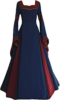 Boomtrader Womens Medieval Long Sleeved Trumpet Gothic Victorian Fancy Party Dress