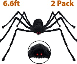 Pawliss Halloween Decorations, 6.6 feet Scary 2 Pack 200cm Giant Spider, Halloween Outdoor Yard Decor, Fake Large Hairy Spider Props, Black
