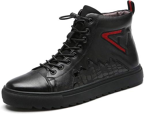 Qiusa botas Chukka de Moda de Cuero Genuino para hombres botas Transpirables Antideslizantes duraderas (Color   negro, tamaño   EU 42)