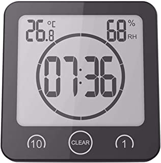 PROMPTO Digital Clock Timer with Alarm, Waterproof for Water Spray for Bathroom Shower Kitchen, Touch Screen Timer, Temperature Humidity Display, Big Suction Cup Hanging Hole Stand - BLACK