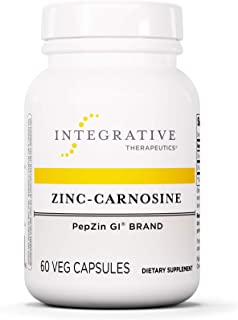 Integrative Therapeutics - Zinc-Carnosine - PepZin GI Brand - Supports Healthy Gastrointestinal Lining & Relieve Gastric Discomfort - 60 Capsules