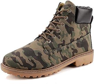 DADIJIER Bottines for Hommes Faux Cuir Chaussures Montantes à Lacets en métal Fermeture Keyhole Col doublé Couleur Unie Lu...