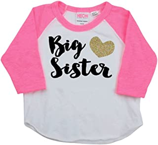 Baby Girl Clothes, Big Sister Shirt, Baby Announcement Photo Prop (2T, Pink Sleeves)