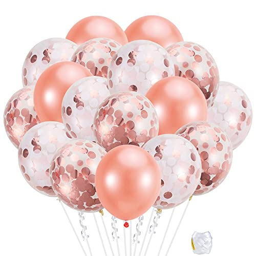 Pllieay 21 Pieces Rose Gold Confetti Balloons Set Including Pink White