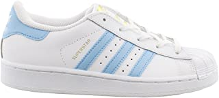 adidas Superstar C White/Lite Blue/Gold (Little Kid)