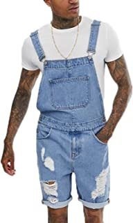 babao Men's Shorts Denim Dungarees Mens Jeans Work Bib Overalls Jeans Jumpsuits Summer Casual Rompers