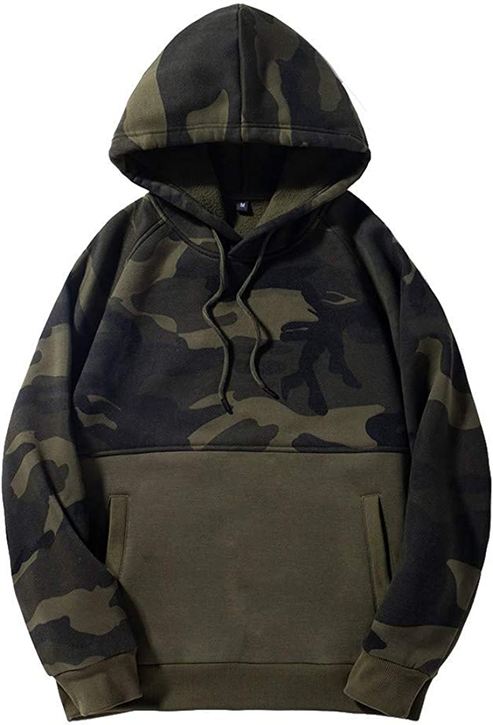 Misaky Hoodies for Men Autumn & Winter Simple Camouflage Pocket Long Sleeve Hooded Pullover Sweatshirt Tops