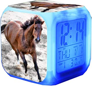 Very Lovely Horse Alarm Clock LED Color Changing Glowing Digital Alarm Clock