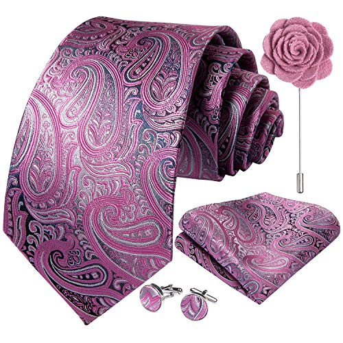 DiBanGu Krawatten-Set für Herren, Hochzeit, formell, Jacquard, gewebte Seide, Krawatte, Einstecktuch, Manschettenknöpfe, Reversnadel Gr. Einheitsgröße, 09 Rosa Grau