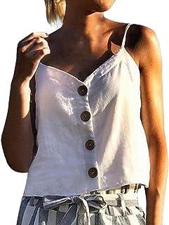 3876cf4b43138 Coco-Z Waistcoat Tank Tops for Women, Summer Loose Button Sling Tops  Fashion Women's