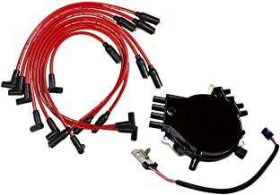 A-Team Performance Complete OptiSpark Spline Drive Distributor with Spark Plug wires and Wiring Harness Compatible With Chevy GMC Chevrolet 92-94 LT1 V8 5.7L Black Cap