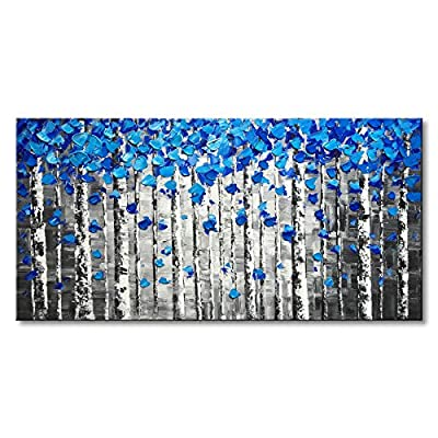 Textured Forest Abstract Canvas Wall Art Hand Painted Modern Blue Tree Oil Painting for Decoration from Winpeak Art