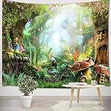 LB Grün Dschungel Wandteppich 150x100cm Wald Wandtuch Fantasy Märchen Wandbehang Tapisserie für Kinder Schlafzimmer Wohnzimmer Wohnheim Wand Dekor,Geburtstag Party Hintergrund