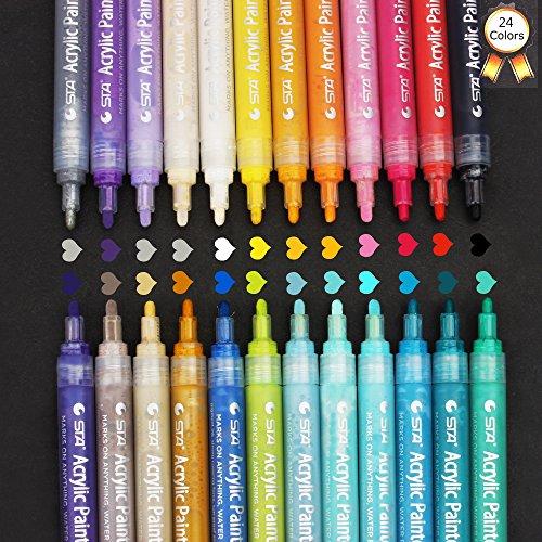 Acrylic Paint Markers Pens Set , Taotree 24 Color Medium Point Tip Art Permanent Paint Pens for Rock Painting, Mug Design, Glass Writing, Canvas, Photo Album, Metal, Christmas Gift DIY Craft Kids