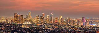 Los Angeles Skyline 2019 Photo Print UNFRAMED Dusk Color LA 11.75 inches x 36 inches Griffith Observatory Photographic Panorama Poster Picture Standard Size