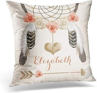 Lfff Throw Pillow Cover Floral Feather Monogrammed Coral y Gold Boho Flower Rose Funda de Almohada Decorativa Decoración para el hogar Funda de Almohada Cuadrada