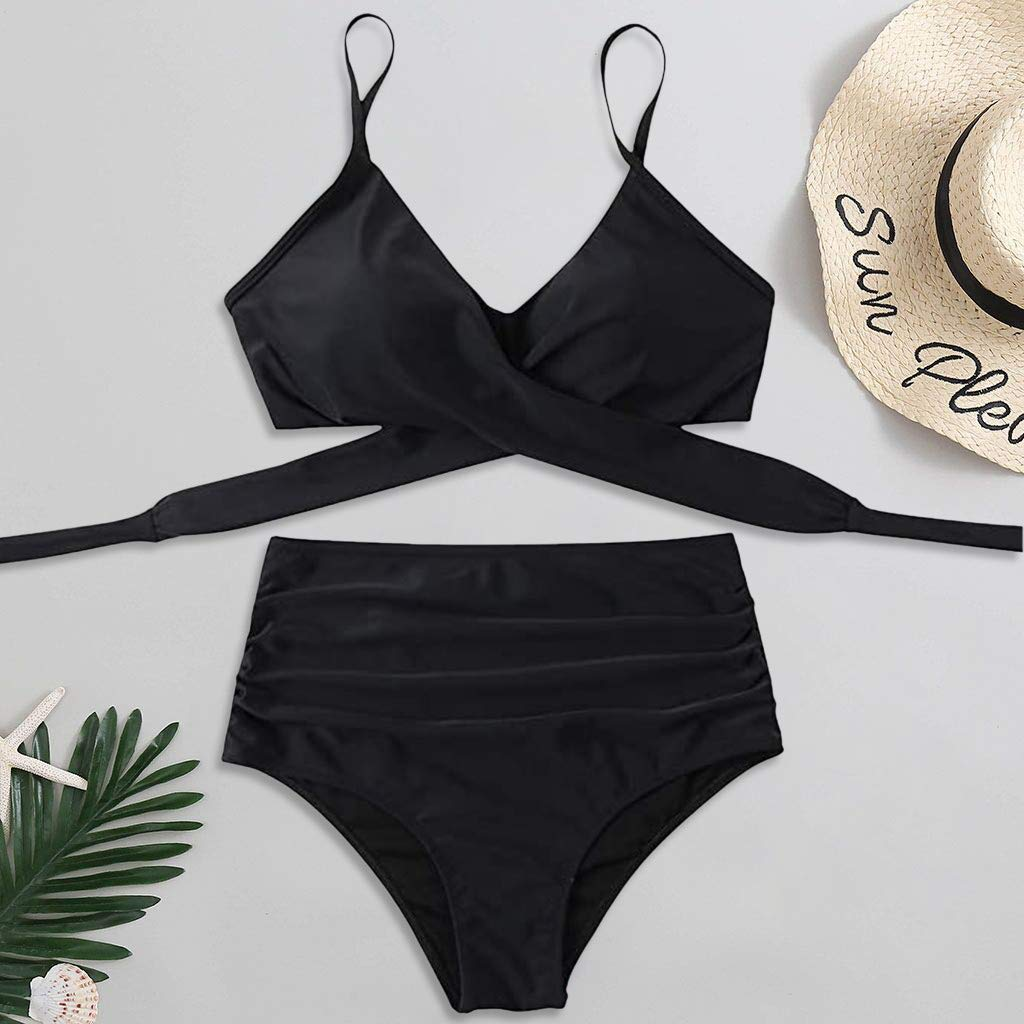 2 Piece Swimsuits for Women High Waist Criss Cross Swimsuits Plus Size Bathing Suits Tummy Control Bikini Set Swimsuits