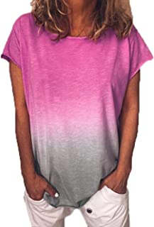 6e7f552037222 Yutila Damen Kurzarm T-Shirt Beiläufig Farbverlauf Shirt Sommer Lose Shirt  Tees