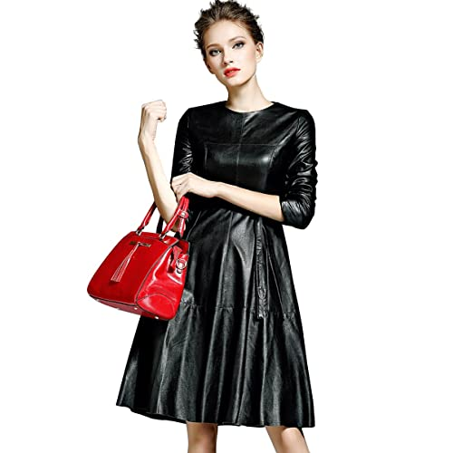 7b0d66a31b180 Womens Faux Leather Fashion Midi Bodycon A-line Dress with Belted