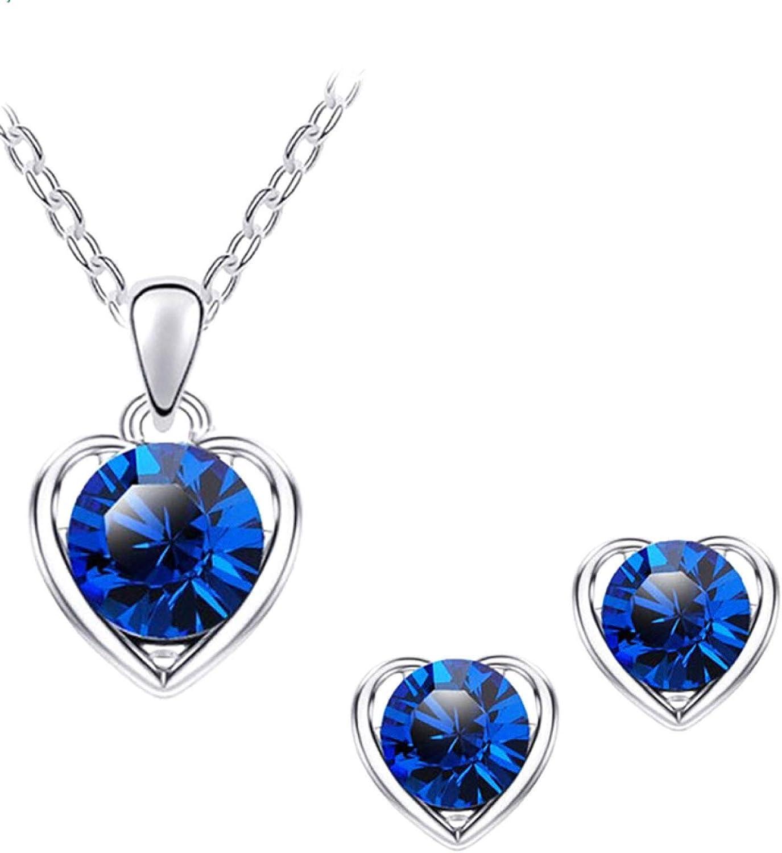 Women's Fashion Jewelry Sets, Women Rhinestone Heart Pendant Necklace Chain Stud Earrings Party Jewelry Set