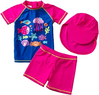 Digirlsor Baby Toddler Girl Swimsuit Two Piece Bathing Suit UPF 50+ UV Protection Swimwear Rash Guard Set with Hat,1-5Y