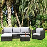 Bigzzia 6 Seater 5 Piece Patio Furniture Set Loveseat Modular Outdoor Sectional Rattan Wicker Patio Conversation Set with Glass Table and Cushion (Beige/Brown)