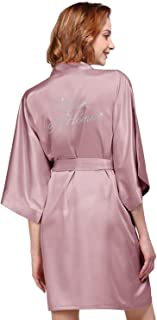 AW Women's Satin Robe for Bridesmaid and Bride Wedding Party Getting Ready Short Kimono with Silver Rhinestone
