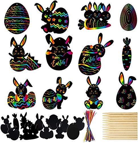 Cevikno Ostern Kratzbilder Set für Kinder Kratzpapier Set, Große Blätter Regenbogen Kratzpapier zum Zeichnen und Basteln Ostergeschenk