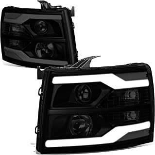 For 07-14 Chevy Silverado Pair Tinted Housing Clear Corner Dual LED DRL Tube Projector Headlight/Lamps