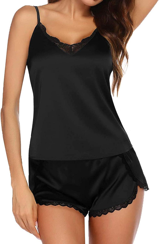Women's Sleepwear Sleeveless Strap Nightwear Lace Trim Satin Cami Top with Shorts 2 Piece Set Sexy Comfy Soft Lingerie