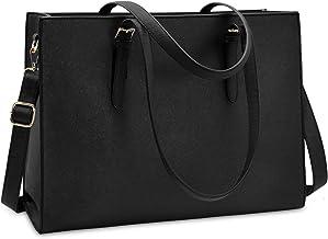 Laptop Bag for Women Waterproof Lightweight Leather 15.6 Inch Computer Tote Bag Business Office Briefcase Large Capacity Handbag Shoulder Bag Professional Office Work Bag Black