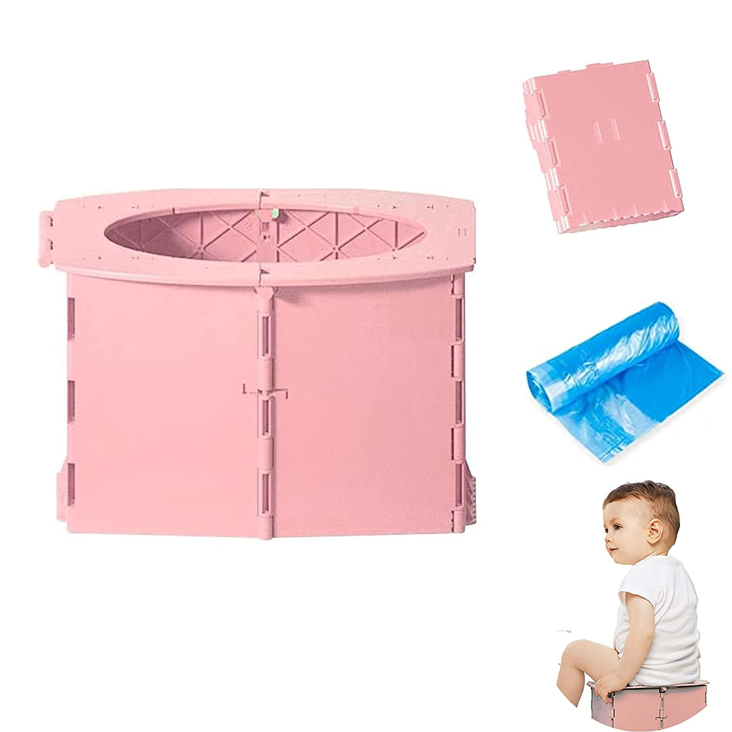 Travel Potty for Kids Foldable Toilet Seat Toddler Potty Seat for Baby Potty Training Kids Travel Potty Reusable Folding Potty for Toddler with 1roll Potty Bags for Car Travel Outdoor Camping(Pink)
