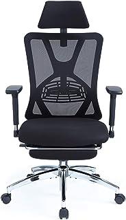 Ticova オフィスチェア 人間工学椅子 足置き台付き 調節可能 な腰サポーとヘッドレストと 3D金属製アームレスト付き 厚手 座面 130度リクライニングチェア 搖りチェア パソコンチェア デスクチェア ハイバック事務椅子 メッシュチェア