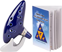 Deekec Legend of Zelda Ocarina 12 Hole Alto C with Song Book (Songs From the Legend of Zelda) Display Stand Protective Bag