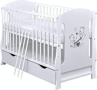 Baby Delux Babybett Kinderbett Juniorbett Teddy Wippe Motiv umbaubar 120� Weiß Schublade Matratze