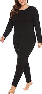 أطقم Johns طويلة للنساء مقاس إضافي من قطعتين من طبقة أساسية لباس داخلي حراري علوي وسفلي (16W-28W)
