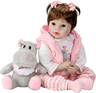 Aori Lifelike Realistic Reborn Baby Doll 22 Inch Real Looking Weighted Reborn Doll with Pink Clothes and Hippo Toy Accessories Best Birthday Set for Girls Age 3