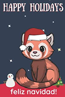 Happy Holidays Feliz Navidad: Cute Kawaii Chibi Forest Fox With a Red White Santa Hat with Night Sky with Stars Notebook C...