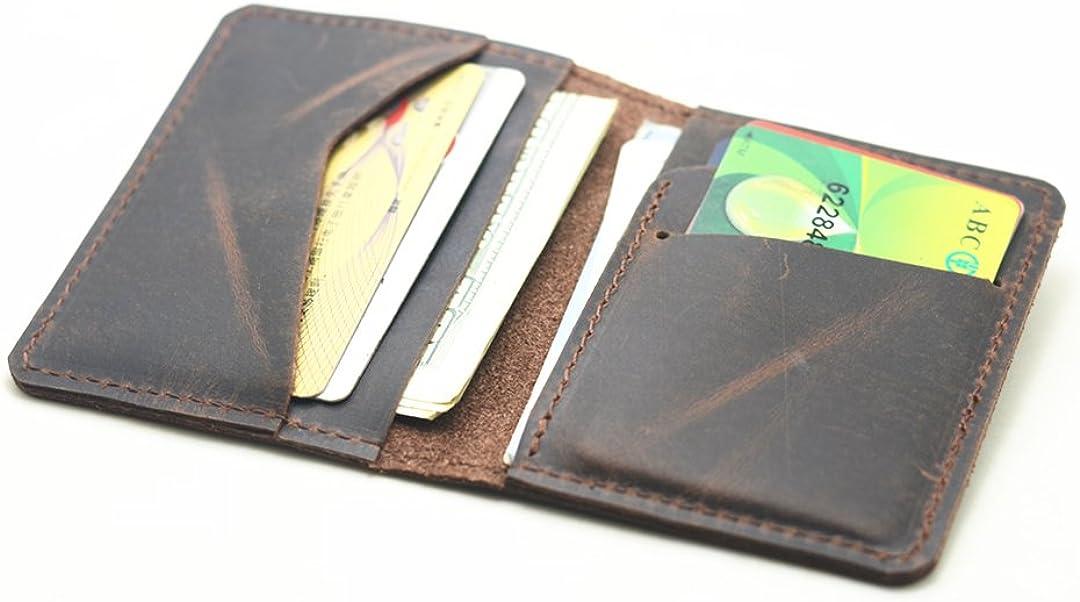 JJNUSA Handmade Men Minimalist Leather Wallet Card Holder Distressed Wallets for Gifts