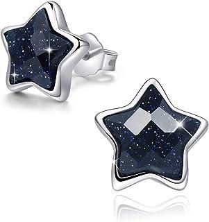 SIMPLOVE Pendientes de Estrella de Plata de ley 18K Platino Plateado con Arenisca, Aretes para Mujer Niñas, Embalaje de Ca...