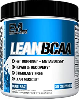 Evlution Nutrition LeanBCAA, BCAA's, CLA and L-Carnitine, Stimulant-Free, Recover and Burn Fat, Sugar and Gluten Free, 30 ...