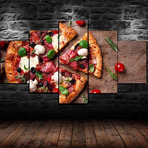 MSKJFD Regalo Creativo Quadro Multipannello di 5 Pannelli Quadro su Tela 5 Pezzi Stampa Artistica Moderno Canvas Ristorante Pizza Store