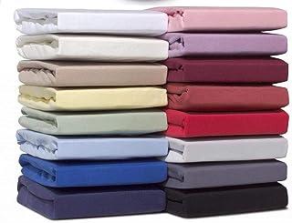Double Jersey Drap Housse 100% Coton Jersey – Extensible, Respirant et Doux - Bonnets jusqu'à 30 cm pour Matelas épais - 1...