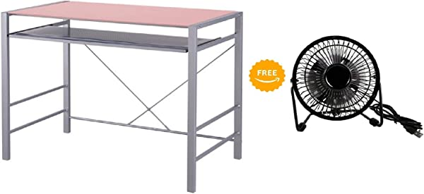 Mainstay Stylish Glass Top Desk Brings Organization To Your Work Or Study Area 36 X 20 X 30 Inches Pearl Blush With Free Portable USB Powered Mini Desk Fan