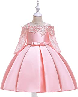 Flower Kids Clothing Satin Elegant Lace cutout half sleeve Girls Dresses for Children Princess Party Costumes Green Color