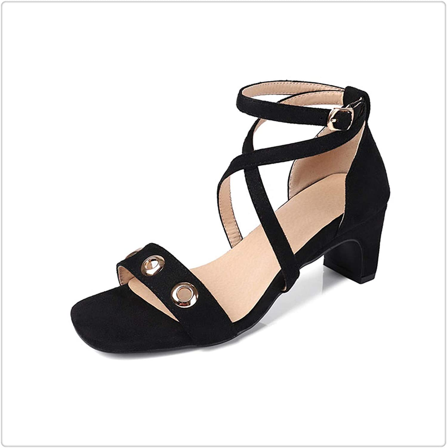 ZXCVB& 2018 New Summer Sandals Women shoes Open Toe High Heels Thick Heel Ladies Footwear Metal Decoration Cross Strap shoes Black 9.5