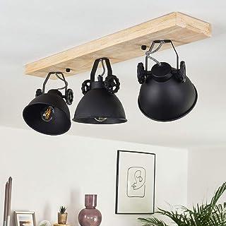 Lámpara de techo Svanfolk de metal y madera en negro/marrón, 3 x E14, máx 40 vatios, diseño industrial, focos ajustables, ideal para sala de estar y dormitorio