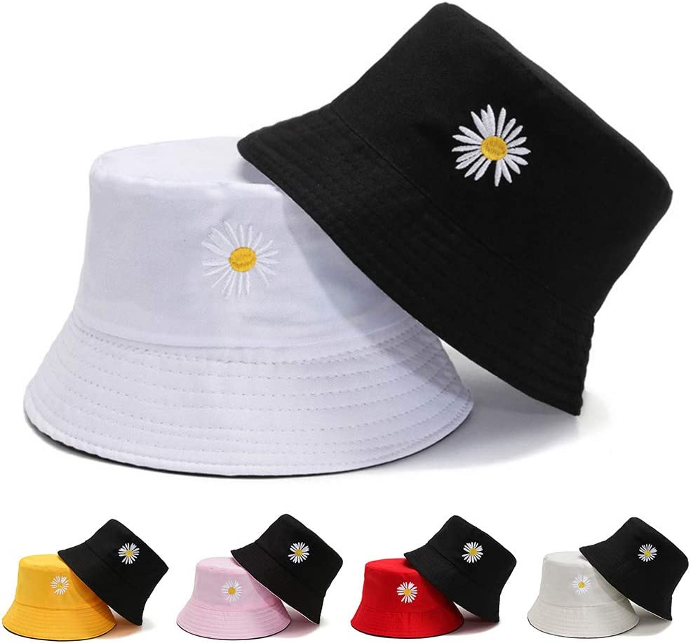 litty089 Hat Women Marguerite Embroidered Anti Sun Reversible Outdoor Beach Bucket Hat Cap