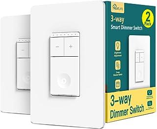 سوئیچ هوشمند 3 راهه هوشمند دیمر 2 بسته سوییچ هوشمند تک قطبی Treatlife سازگار با الکسا ، دستیار Google ، کنترل از راه دور سوییچ نور WiFi ، سیم خنثی مورد نیاز ، برنامه ، بدون توپی لازم است