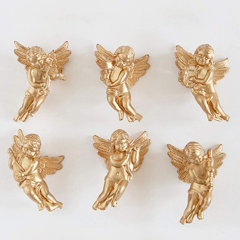 6Pcs Sliver /& Gold Christmas Angel Wings Xmas Tree Hanging Ornament Decoration
